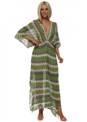 Lime Zig Zag Knit Maxi Dress