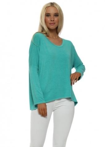 Karma Sea Green Long Sleeve Slouch Top