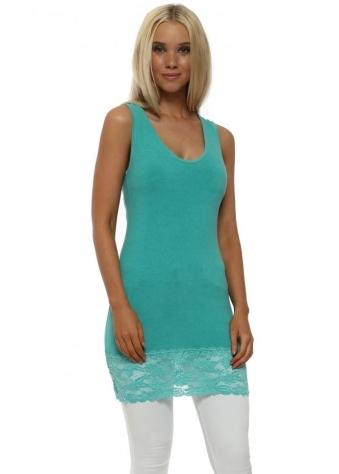 Sea Green Sammy Lace Hem Long Vest
