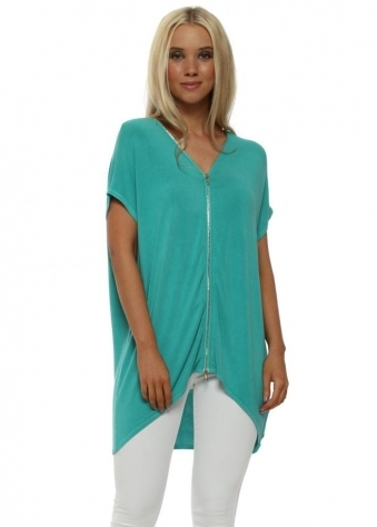 Sleeveless Sea Green Double Ended Zip Top
