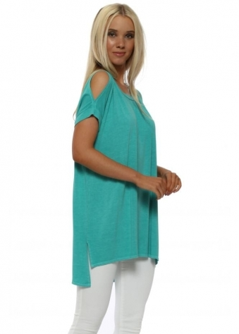Dannie Sea Green Cold Shoulder Tunic Tee