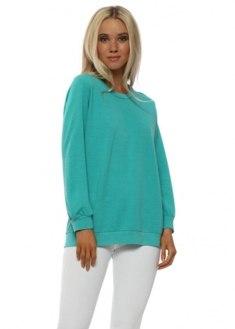 Remy Sea Green Tie Back Split Sweater