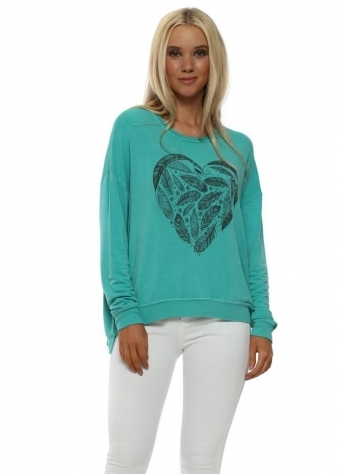 Sea Green Feather Heart Sweater