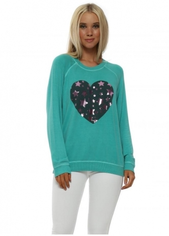 Sea Green Metallic Starry Heart Sweater