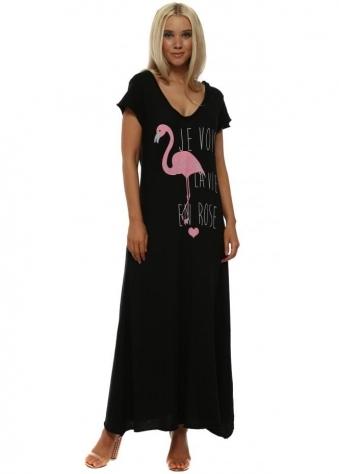 Black Flamingo Tee Shirt Maxi Dress