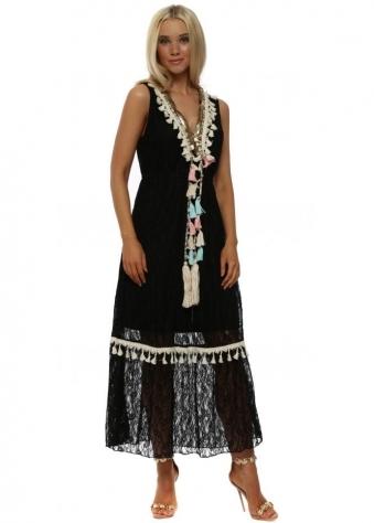 Black Lace Tassel & Pearl Maxi Dress
