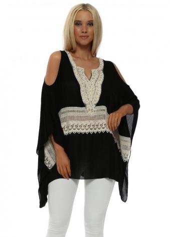 Black Pearl & Lace Cold Shoulder Kaftan Top