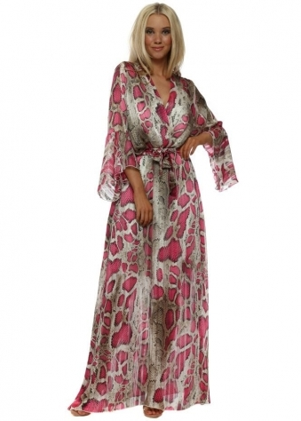 Hot Pink Snakeskin Print Crossover Maxi Dress