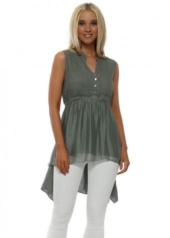 Khaki Linen & Silk Sleeveless Shirt
