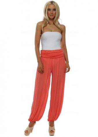 Coral Harem Draped Trousers