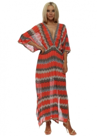 Coral Zig Zag Knit Maxi Dress