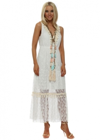 White Lace Tassel & Pearl Maxi Dress