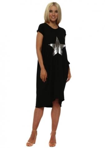 Black Star Print Cotton T-Shirt Dress