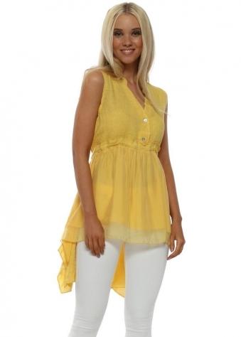 Yellow Linen & Silk Sleeveless Shirt