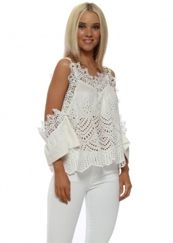 Cotton White Crochet Cold Shoulder Sleeves Top