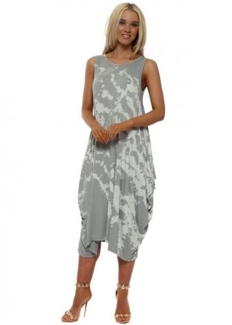 Grey Marble Effect Parachute Dress