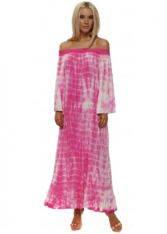 Fuchsia Off The Shoulder Tie Dye Maxi Dress