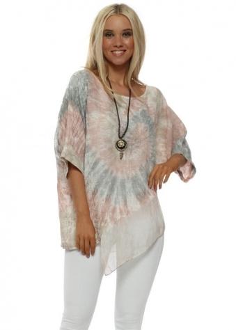 Pink Tie Dye Asymmetric Cotton Necklace Top