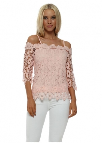 Pink Lace Off The Shoulder Top