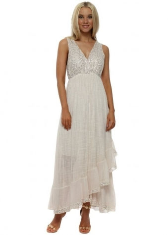 Nude Pink Sequinned Cotton Maxi Dress