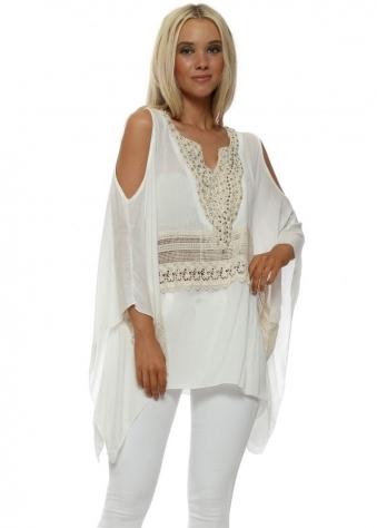 White Pearl & Lace Cold Shoulder Kaftan Top