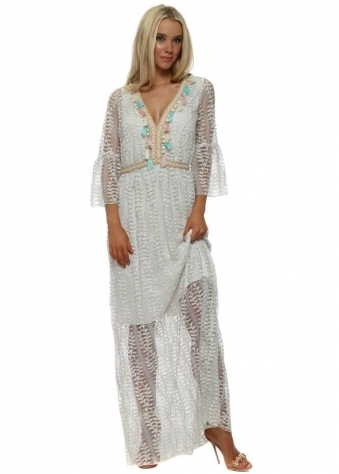 White Silver Threaded Lace Tassel Maxi Dress