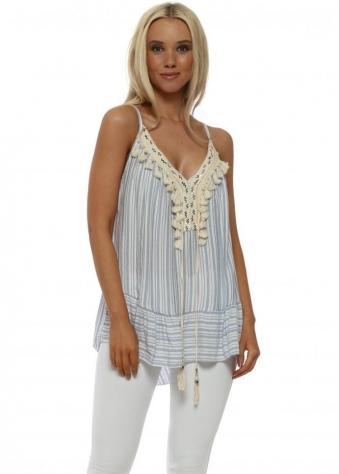 Blue Stripe Cotton Tassel Vest