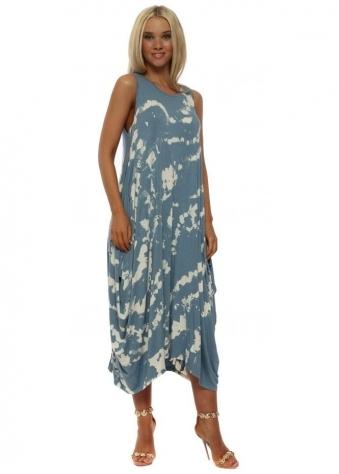 Denim Blue Marble Effect Parachute Dress