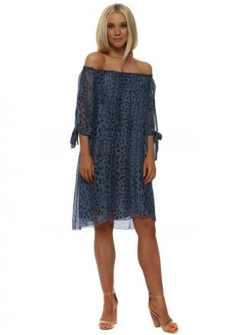 Blue Leopard Print Silk Shift Dress