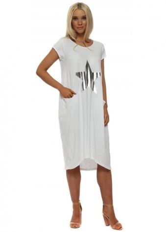 White Star Print Cotton T-Shirt Dress