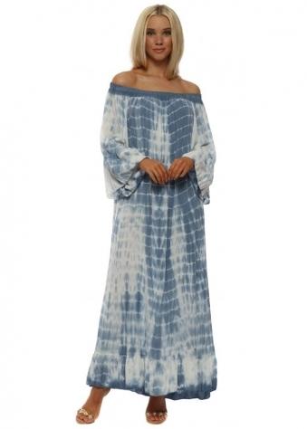 Denim Blue Off The Shoulder Tie Dye Maxi Dress