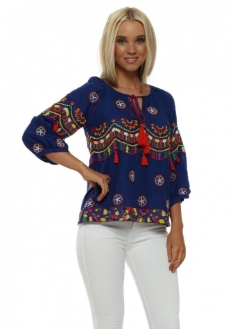 Blue Boho Embroidered Cotton Short Top