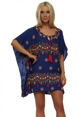 Blue Embellished Bead & Tassel Cotton Kaftan Top