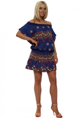 Blue Boho Embroidered Cotton Mini Dress