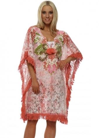 Pink Lace Sequin Floral Kaftan
