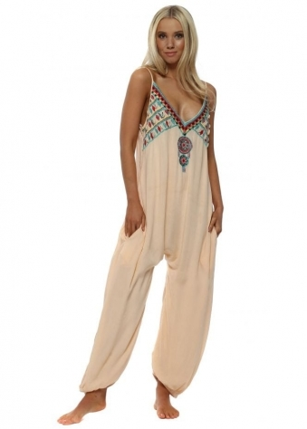 Peach Shell Embellished Jumpsuit