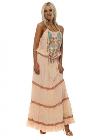 Peach Boho Tiered Maxi Dress