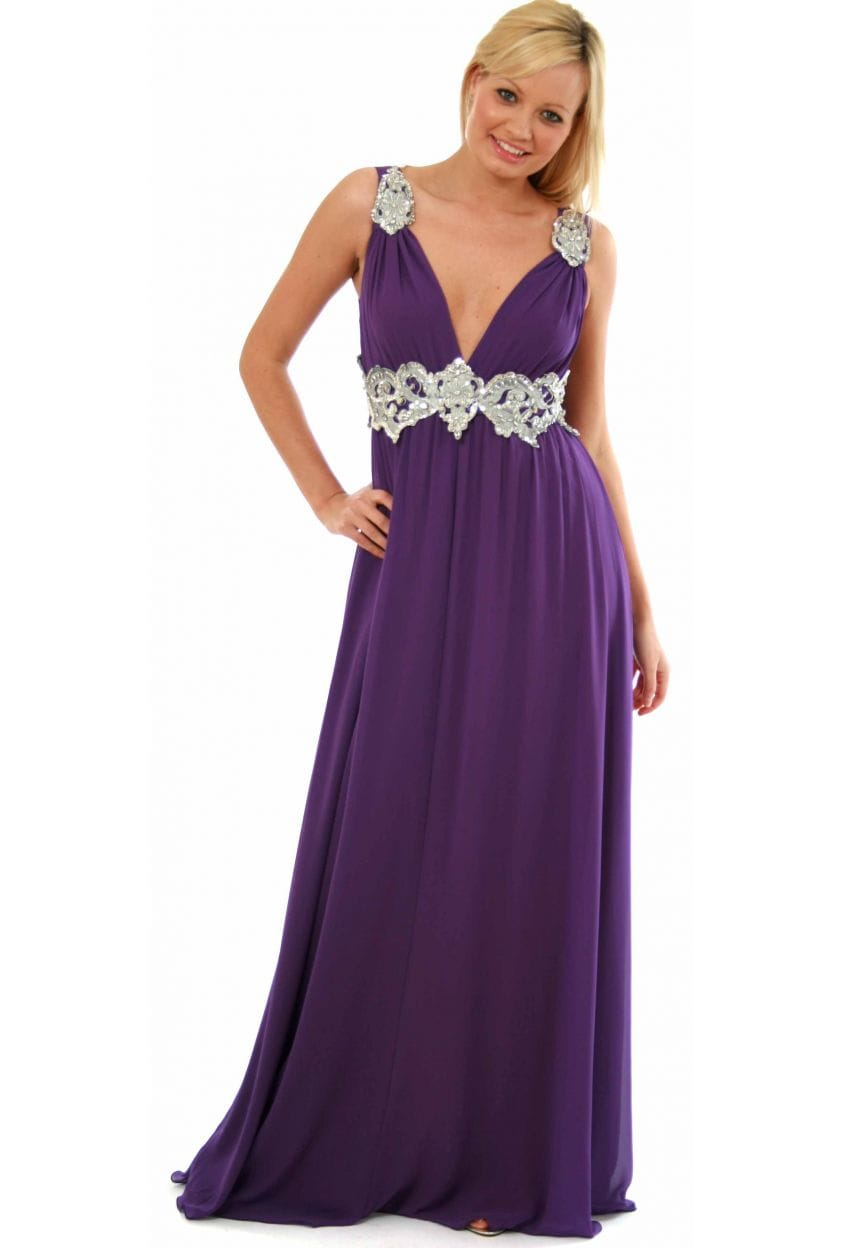 Pia Michi Silver Jewelled Tie Cummerbund Grecian Style Dress ...