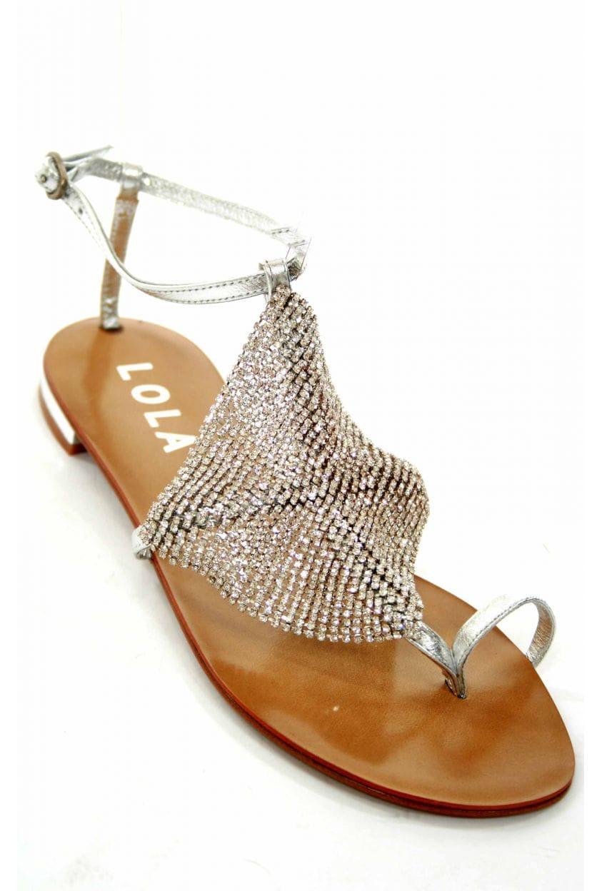 Lola Cruz Plata Mesh Swarovski Crystal Sandal Sandals
