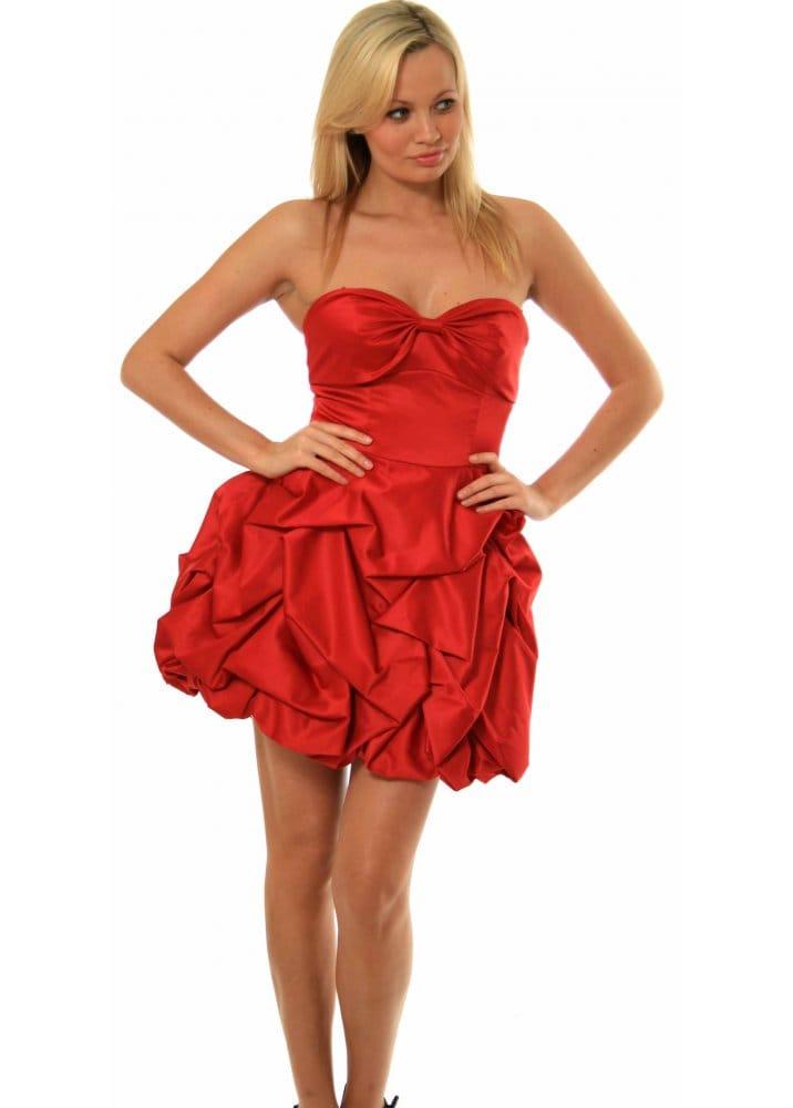 Forever Unique Paris Ruched Red Satin Bustier Mini Dress