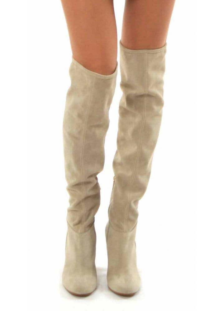 Beige Suede Over The Knee Boots - Boot Hto