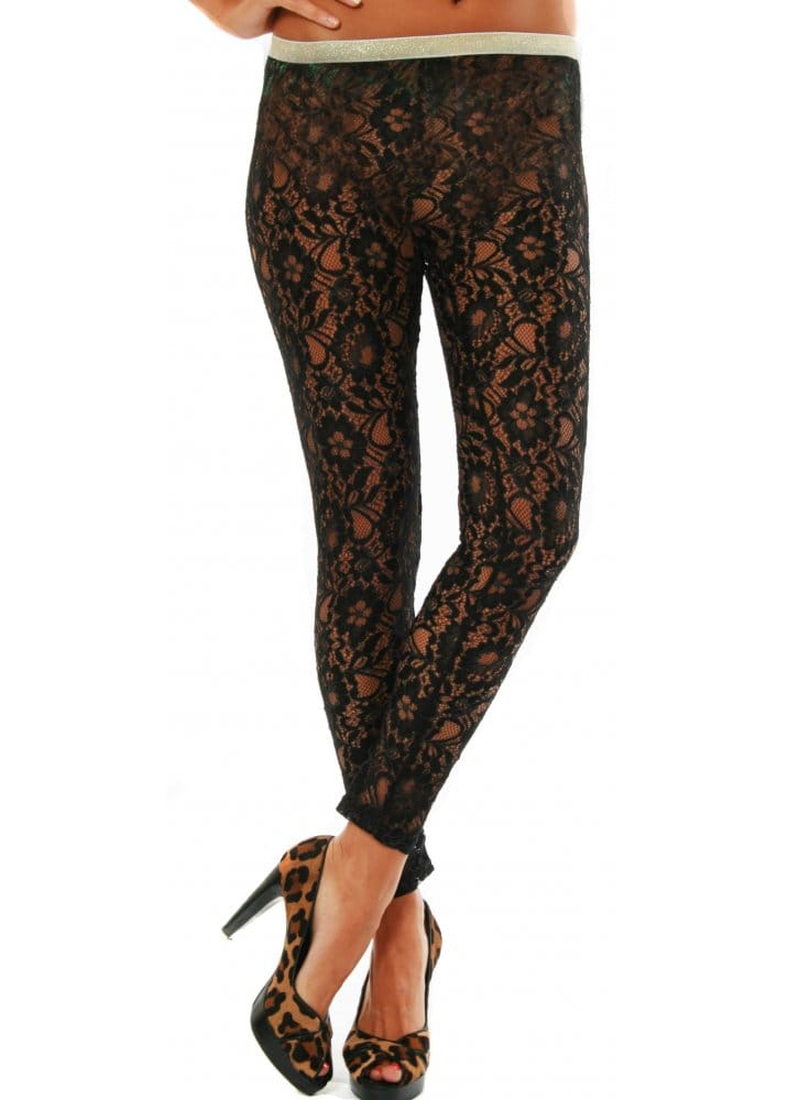 Traffic People Sheer Black Lace Leggings Traffic People