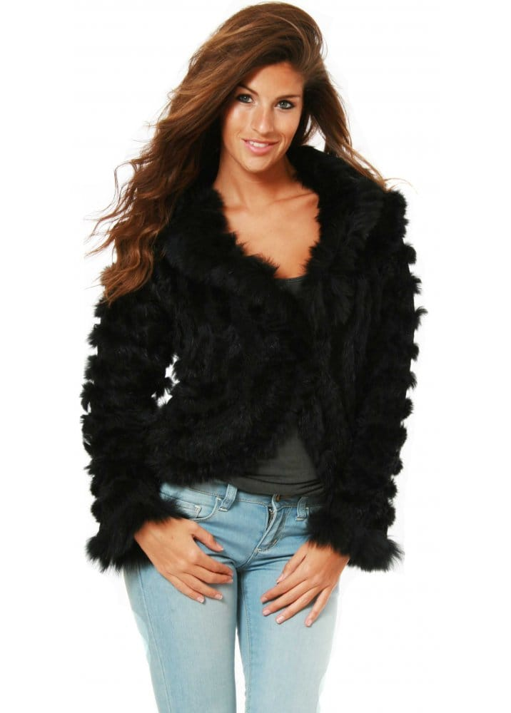 Womens Short Black Fur Coat - Tradingbasis