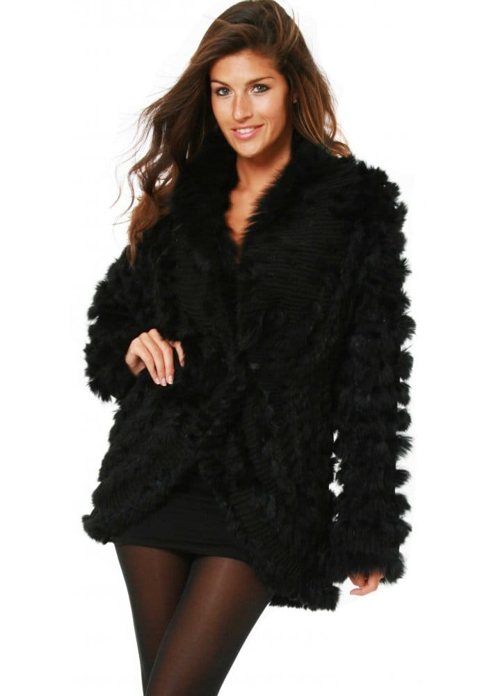 Designer Black Fur Coat | Designer Fur Knitted Cardigan | Womens ...