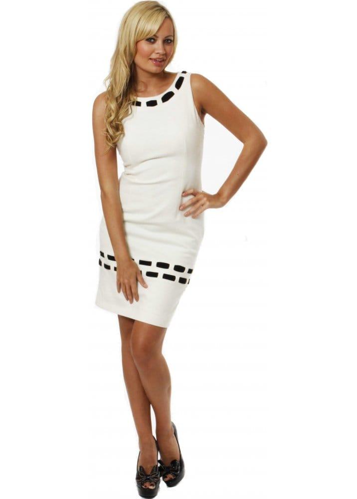 Nissa Cream wool Shift Dress  Nissa Designer Dresses  Buy Nissa ...