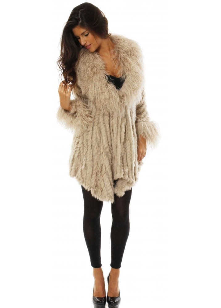 Designer Mongolian Fur Jacket | Designer Rabbit Fur Cardigan Coat