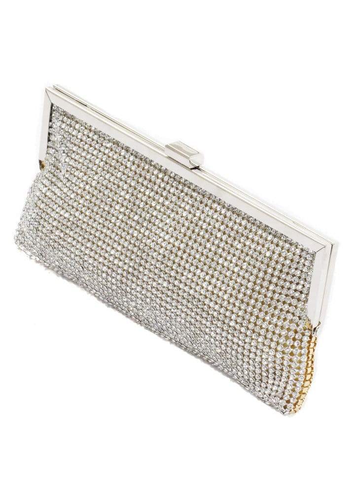 Koko Designer Gold Diamante Clutch Bag Gold Designer