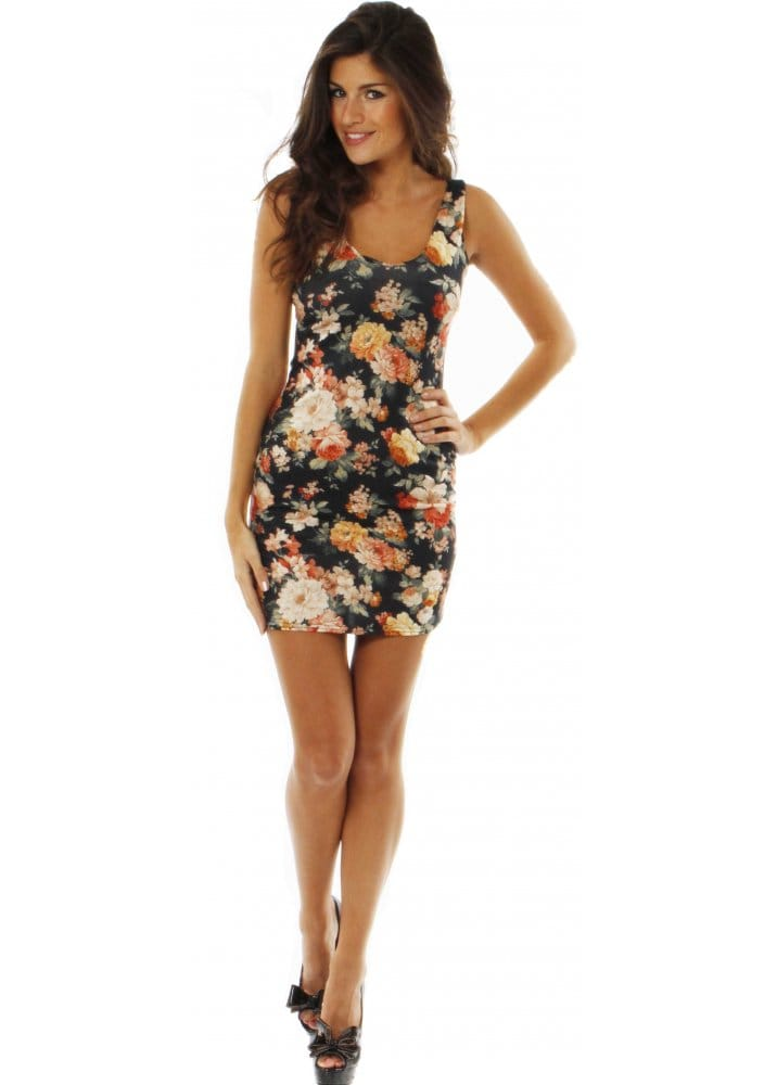 Love Black Garden Bodycon Dress Love Label Mini Dress
