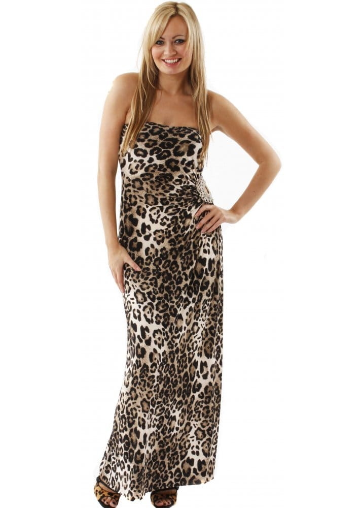 Goddiva Goddess Leopard Dress | Leopard Print Maxi Dress | Goddess ...