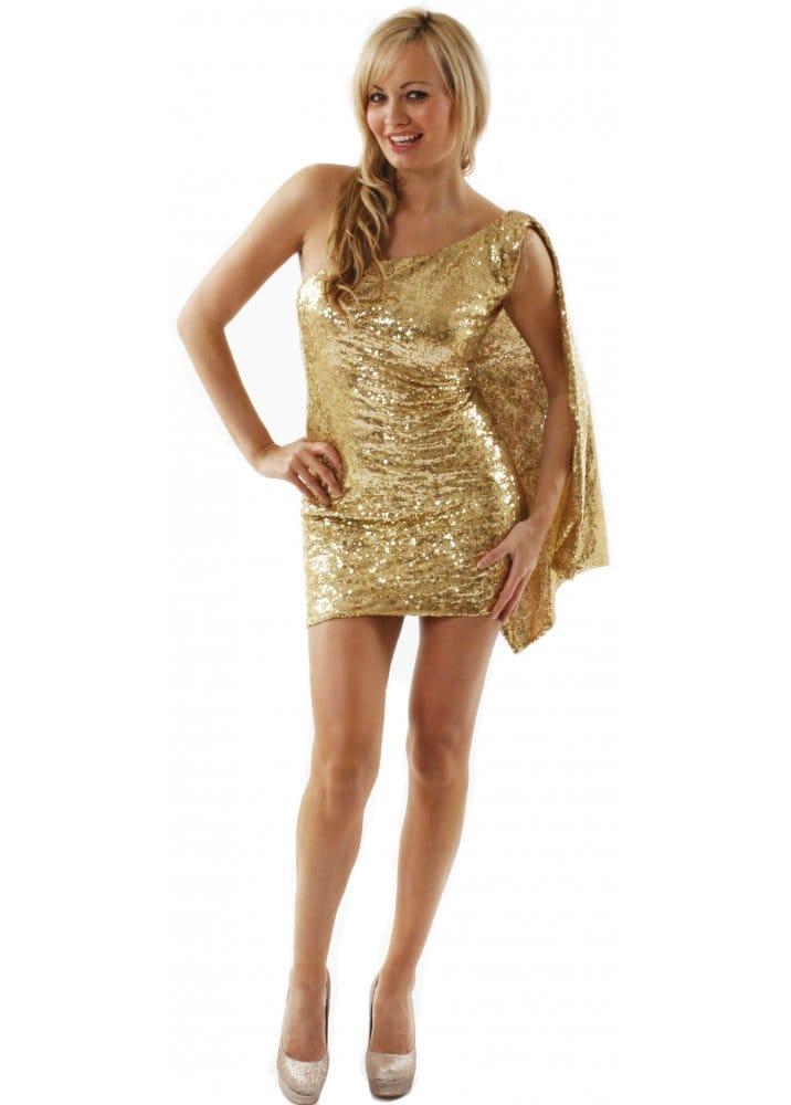Goddiva Goddess Gold Dress Gold Sequin Dress Gold